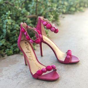 Sam Edelman Addison Pink Suede Pom Pom Sandal Heel